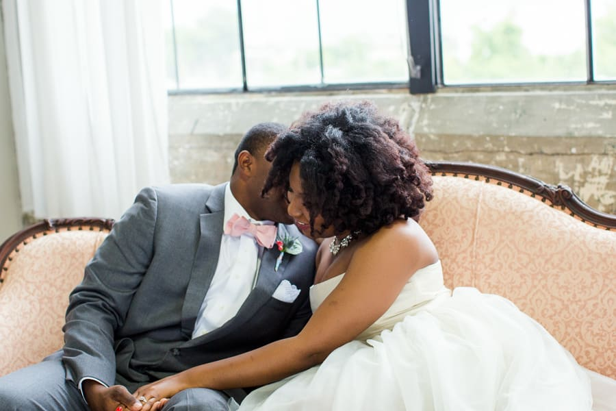 Houston Tuesdays Together (Rising Tide Society) Pantone Colors Styled Shoot, African American Bride & Groom, Groom Bow-tie