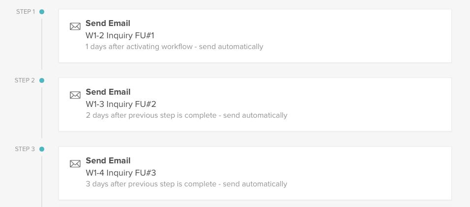 Inquiry workflow in HoneyBook