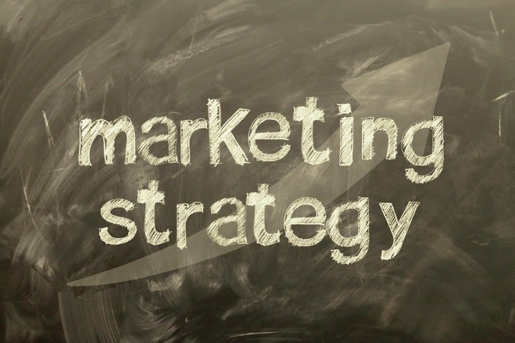 A chalk board background with text saying marketing strategy.
