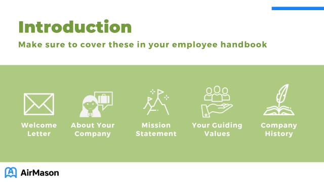 Introduction section in employee handbook