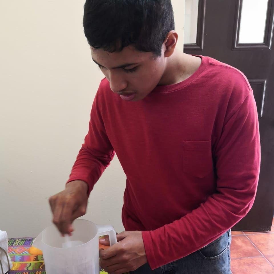 Diego making lemonade