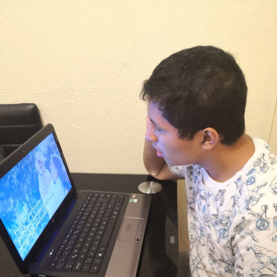 Diego on the computer