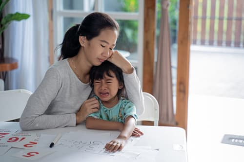 mom comforting daughter self-regulation