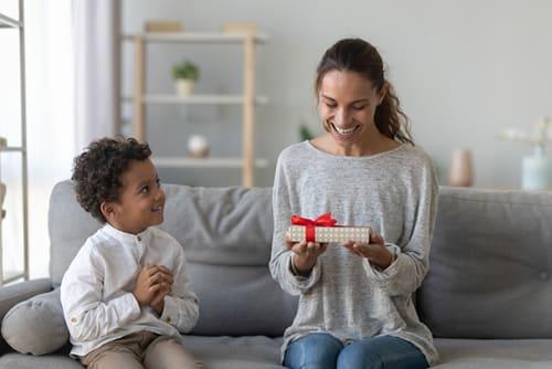 little boy gift giving for mom