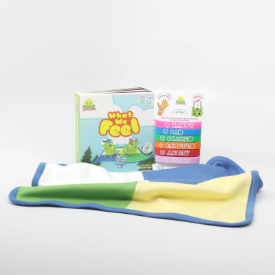 What We Feel book, patoo blanket and wristbands