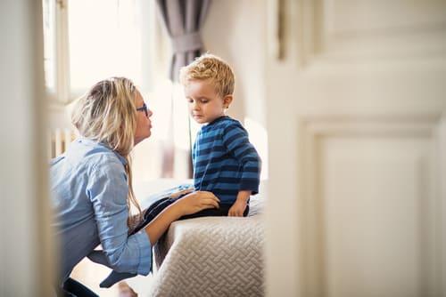mom and son consoling temper tantrum