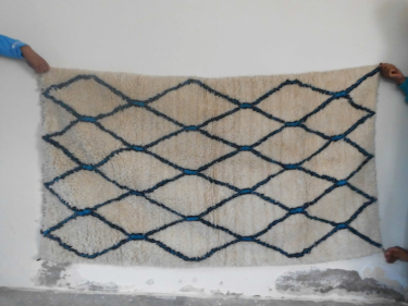 Pile Knot Rug  Light Blue, Black Morocco