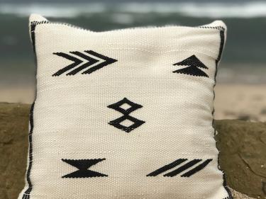 Bamboo Pillow Bamboo Black, White Morocco
