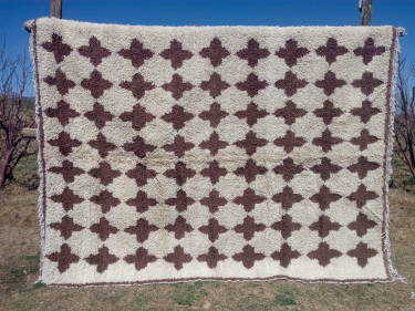 Pile Knot Rug Pomegranite Brown, White Morocco