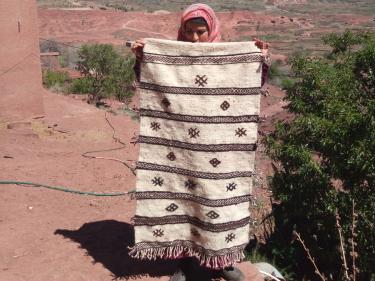 Flatweave Rug  Brown, Black Morocco