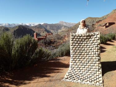 Pile Knot Rug Wool Brown, Black Morocco