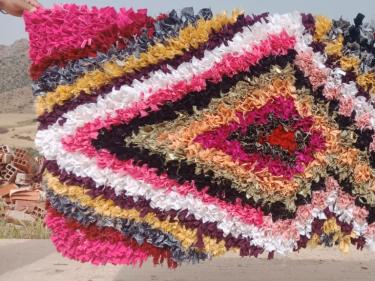 Boucherouite Rug Rag Fabric Colored Morocco