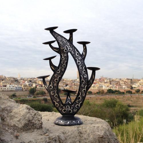 Decor Steel and Silver Black, White Morocco