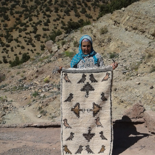 Beni Ourain Wool String and Wool Colored Morocco