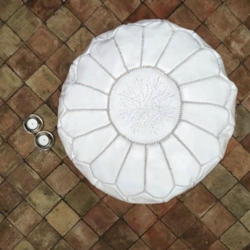 Pouf leather and Sabra silk White Morocco