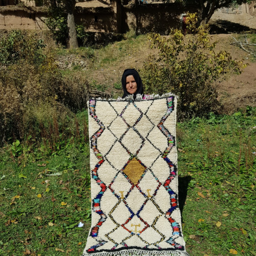 Beni Ourain  Wool  and Thread Colored Morocco