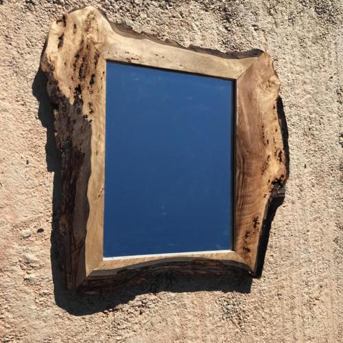 Mirror Walnut Wood Blue, Brown Morocco