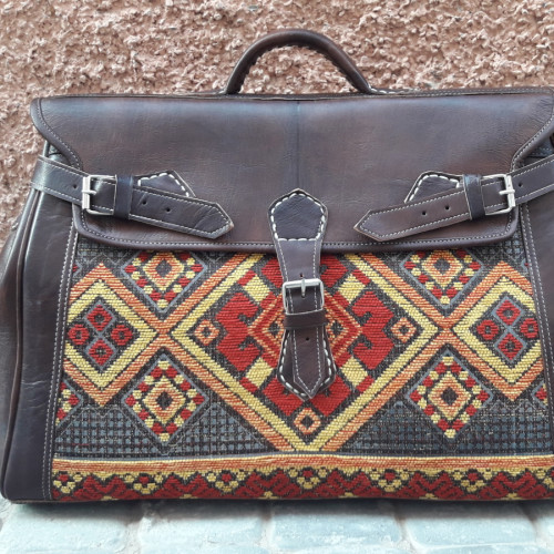 bag leather and Sabra silk Red, Orange Morocco