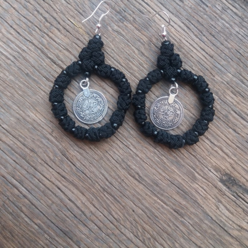 Button Dangle Earrings  Black Morocco