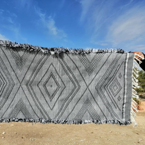 Handira Wool and Sedda  Black, White Morocco