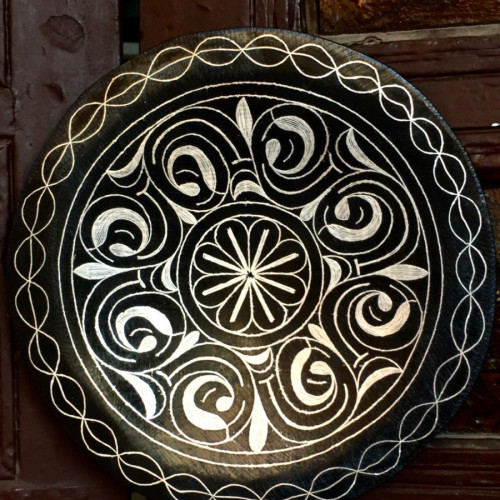 Plate Steel and Silver Black, White Morocco