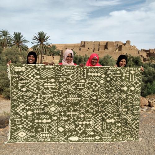 Pile Knot Rug Cotton Warp Green, White Morocco