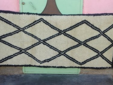 Black, White Pile Knot Rug