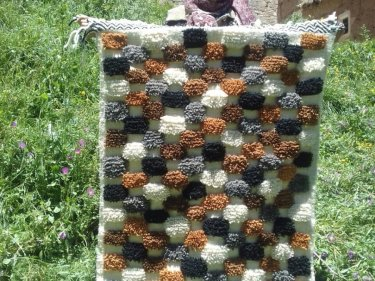Colored Wool  and Thread Beni Ourain