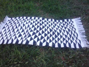 Black, White Flatweave Rug