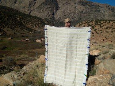 Blue, White Wool  and Thread Handira