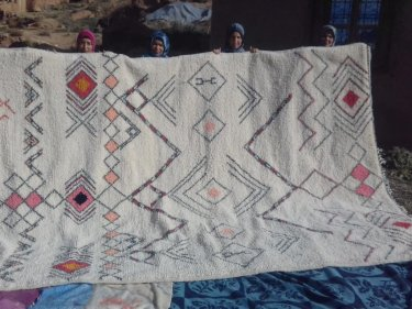 Pink, Black Wool and Cotton Warp Beni Ourain