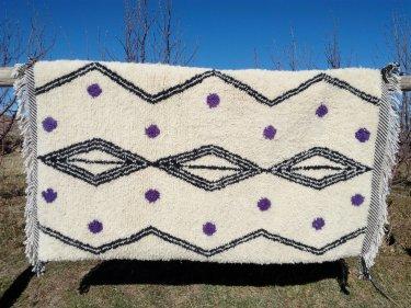 Purple, Black Wool Pile Knot Rug