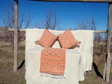 Orange, Black Wool Bed decoration