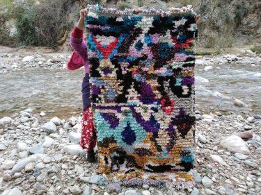 Colored Warp and Cloth rags Boucherouite
