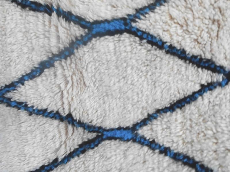 Pile Knot Rug  Light Blue, Black Morocco