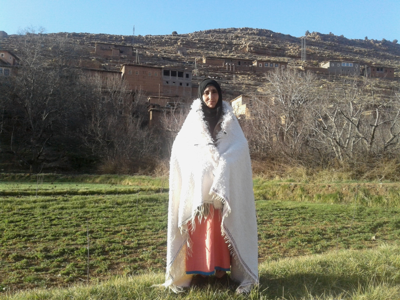 Handira Wool  and Thread Black, White Morocco
