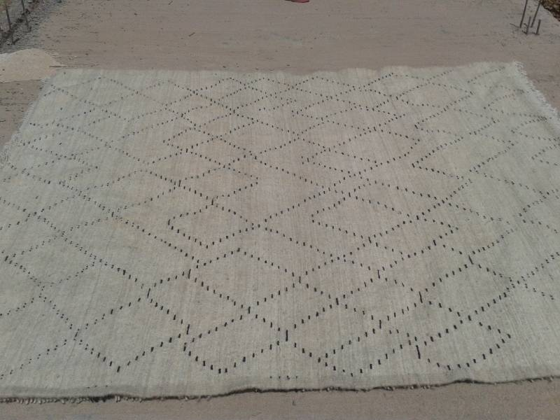 Black, White Wool String and Wool Pile Rug