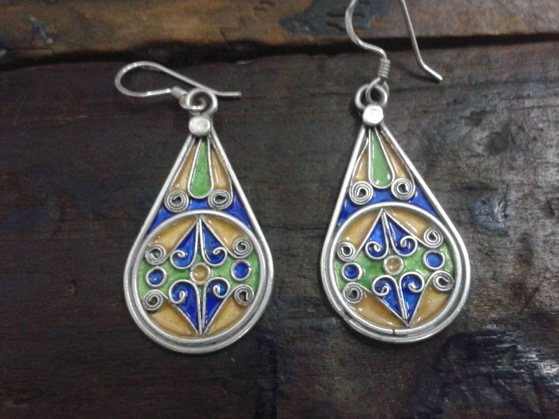 Blue, Yellow 800 Tiznit Silver Earrings