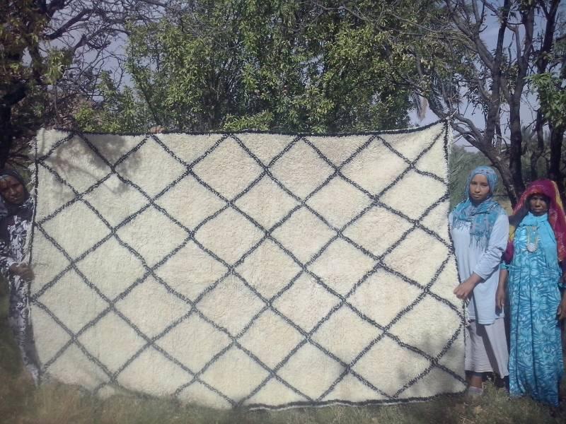 Black White Pile Knot Rug Fair Trade Morocco Anou