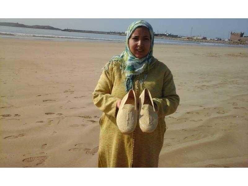 White Rafia fibers and Shoe soles Boho Shoes