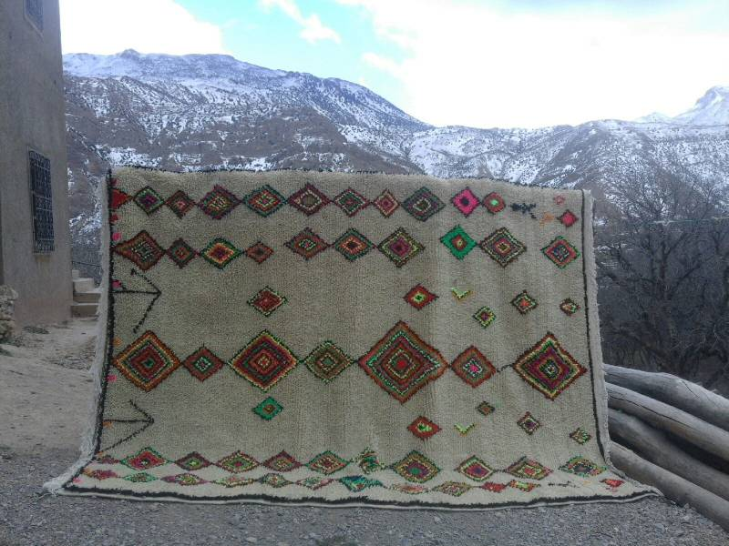 Colored Wool and Cotton Warp Azilal Rug | Fair Trade Morocco Anou : cotton warp quilt - Adamdwight.com