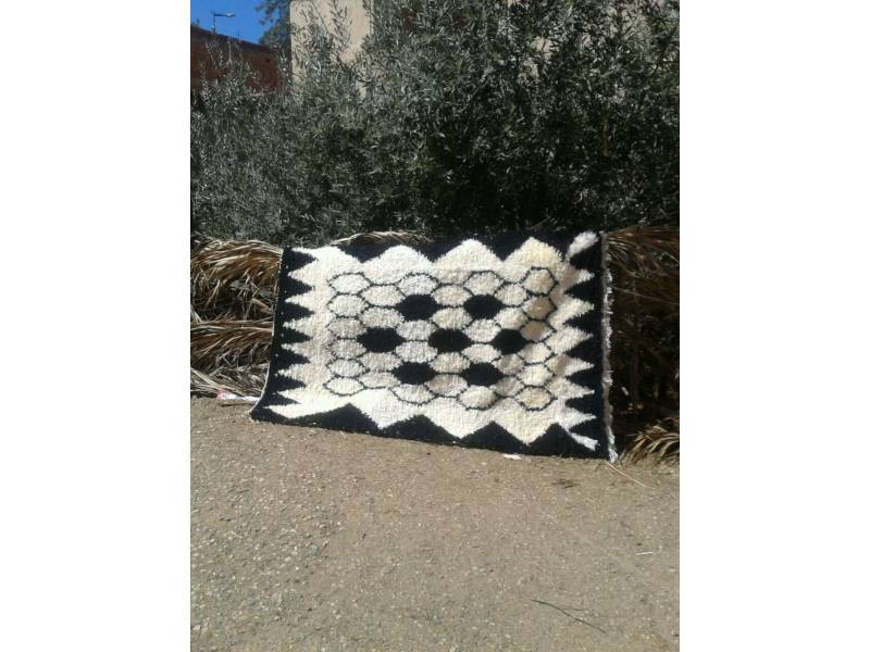 Black, White Boucherouite Rug