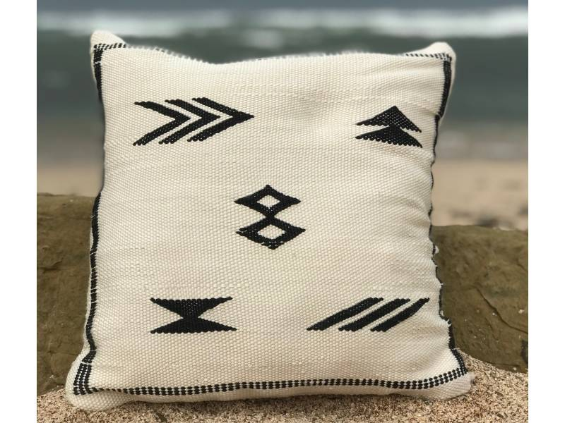Black, White Bamboo Bamboo Pillow