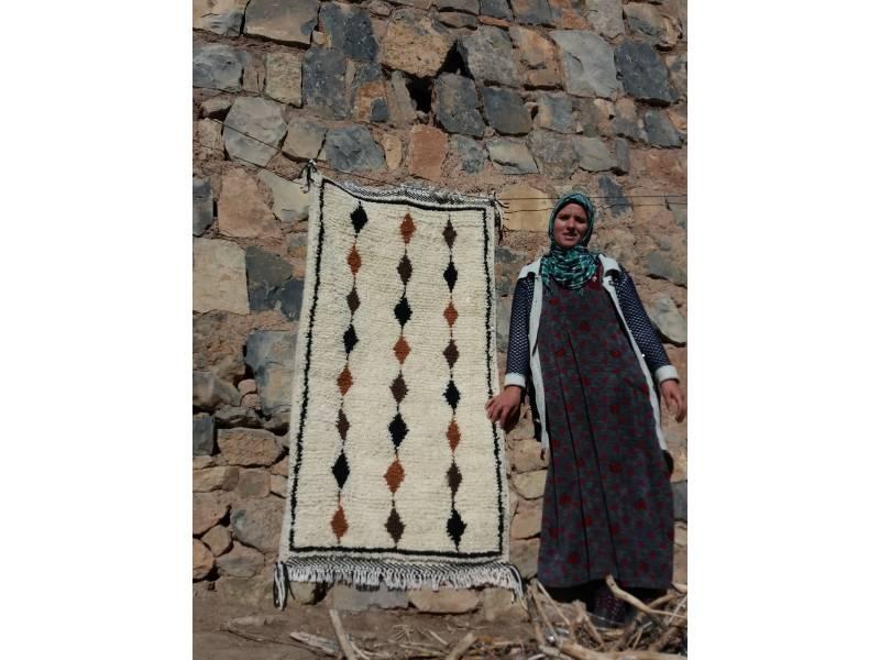 Orange, Black Wool  and Thread Beni Ourain