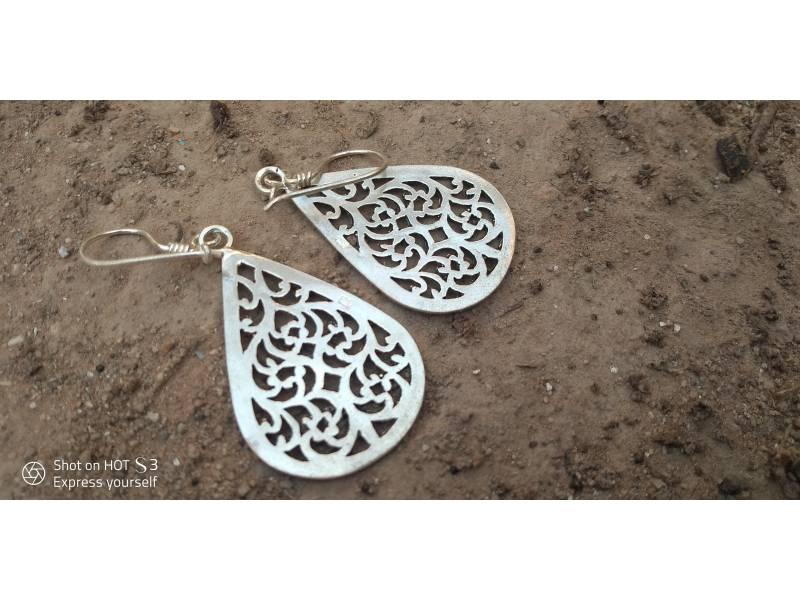 Black, White 800 Tiznit Silver Earrings