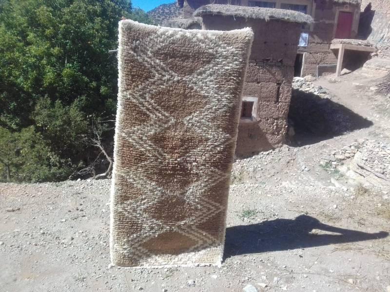 Orange, White Wool  and Thread Beni Ourain