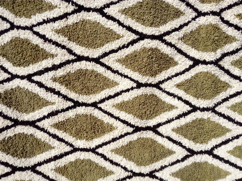 Green, Black Pile Knot Rug
