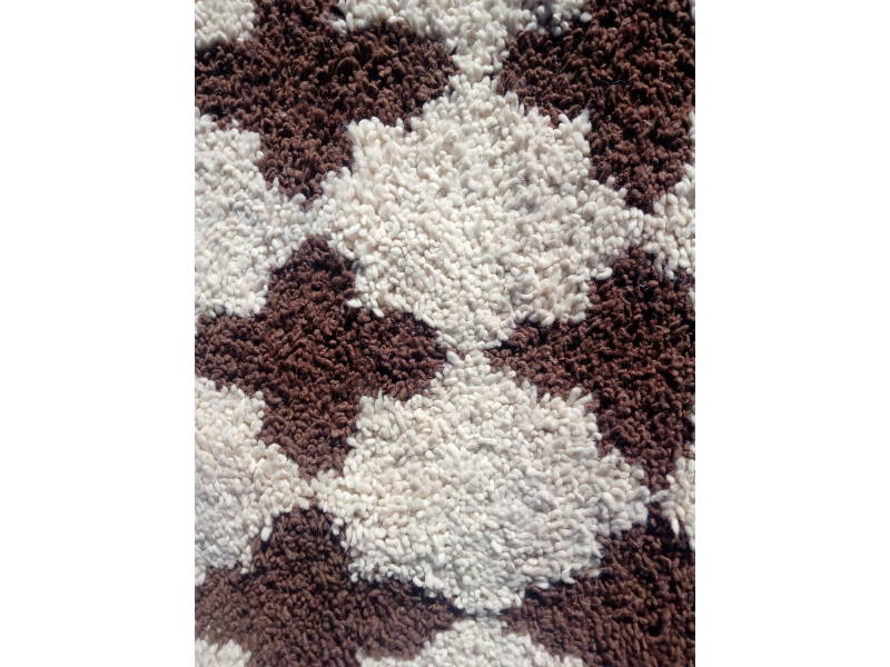 Brown, White Pomegranite Pile Knot Rug