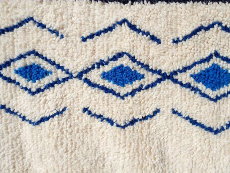Blue, Black Wool Pile Knot Rug
