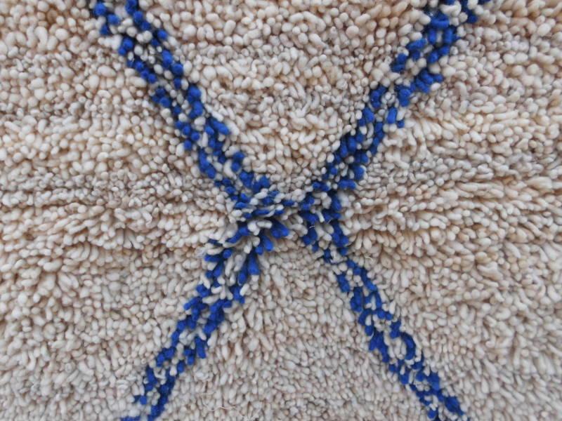 Blue, White  Pile Knot Rug